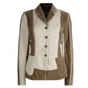 Etro Beige and Brown Velvet Notched Collar Blazer L