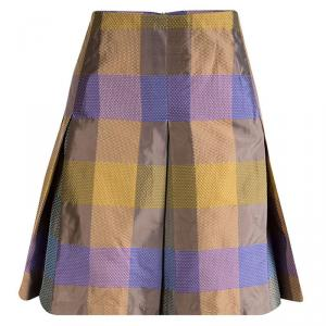 Etro Multicolor Silk Checked Pleated Skirt M
