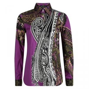 Etro Purple Printed Cotton Long Sleeve Button Front Shirt S