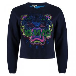 Kenzo Navy Blue Embroidered Tiger Motif Cropped Sweatshirt S