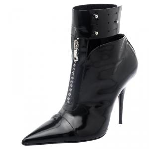Etro Black Patent Ankle Boots Size 36