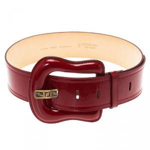 Fendi Red Patent Leather B Buckle Belt 85 CM
