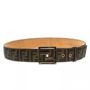 Fendi Brown Zucca Canvas Unisex FF Buckle Belt 95 CM