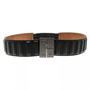 Fendi Black Leather Wide Elastic Belt 85 CM