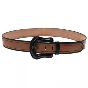 Fendi Black and Brown Leather B Belt 90CM