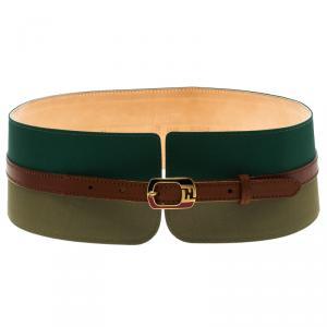 Fendi Chameleon Fabric and Leather High Waist Belt 75 CM
