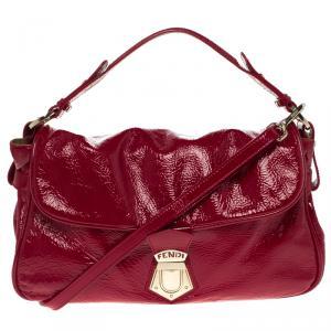 Fendi Red Patent Leather Push Lock Satchel