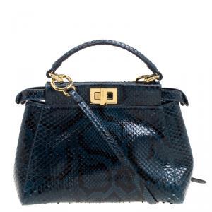 Fendi Blue Python Mini Peekaboo Top Handle Bag