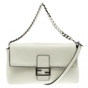 Fendi White Leather Micro Baguette Shoulder Bag