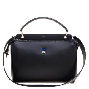 Fendi Black Leather Dotcom Top Handle Bag