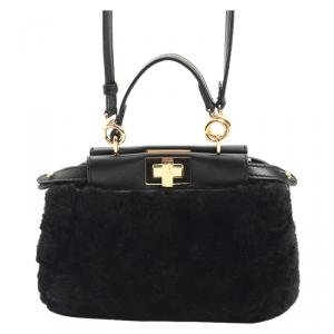 Fendi Black Shearling Fur Micro Peekaboo Satchel Bag