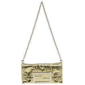 Fendi Gold Foil Mia Evening Bag