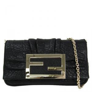 حقيبة صغيرة فندي ميا جلد حُبيبي أسود