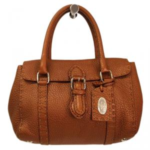 Fendi Metallic Brown Selleria Leather Mini Linda Satchel