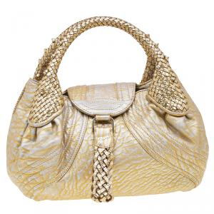 Fendi Gold Leather Mini Spy Bag