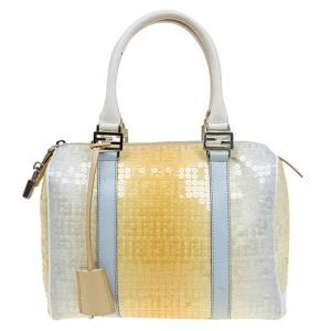 Fendi Yellow Ombre Zucchino Sequin Bauletto Boston Bag
