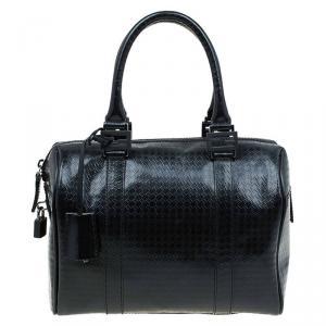 Fendi Black Zucca Embossed Patent Leather Forever Bauletto Boston Bag
