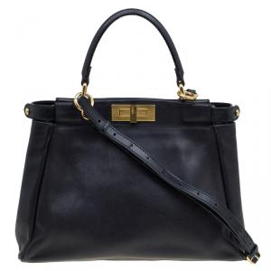 Fendi Black Leather Small Peekaboo Top Handle Bag