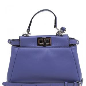 Fendi Viola Nappa Leather Micro Peekaboo Bag