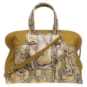Fendi Yellow Honey Python Leather Large Chameleon Satchel