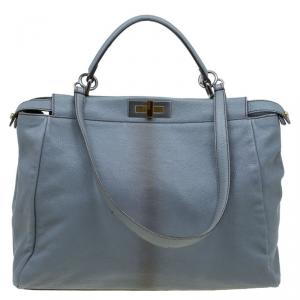 Fendi Grey Leather Python Lined Large Peekaboo Top Handle Bag