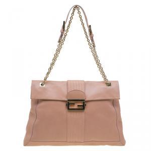 Fendi Beige Leather Maxi Baguette Flap Shoulder Bag