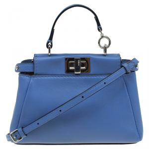 Fendi Powdered Blue Leather Micro Peekaboo Bag