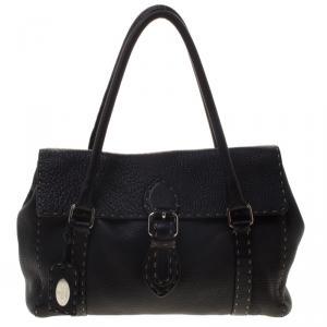 Fendi Black Selleria Leather Linda Satchel