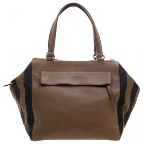 Fendi Brown Leanther/Canvas and Suede Pequin Boston Bag