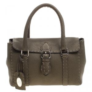 Fendi Fatigue Green Selleria Leather Mini Linda Satchel