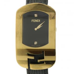Fendi Black Gold Plated Stainless Steel Chameleon Woman's Wristwatch 18MM
