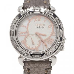 Fendi White Stainless Steel Selleria Women's Wristwatch 37MM