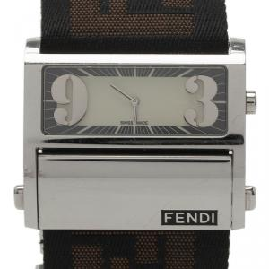 Fendi Cream Stainless Steel Zip Code Women's Wristwatch 44MM