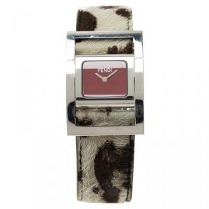 Fendi Red Stainless Steel Classic Women's Wristwatch 26MM