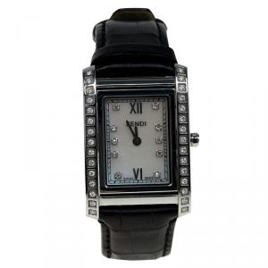 Fendi Mother of Pearl Stainless Steel Diamond Loop Women's Wristwatch 27MM