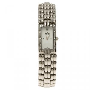 Fendi White Stainless Steel Classic Women's Wristwatch 15MM