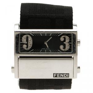 Fendi Black Stainless Steel Diamond Zip Code Women's Wristwatch 40MM