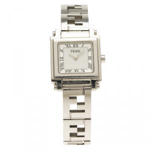 Fendi Silver Stainless Steel Quadro Women's Wristwatch 25MM