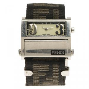 Fendi White Stainless Steel Zip Code Women's Wristwatch 38MM