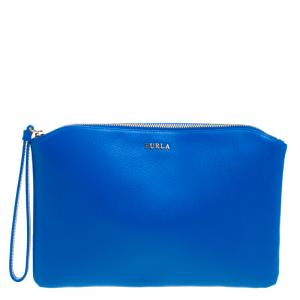Furla Blue/Pink/Green Leather Set of 3 Cosmetic Pouch