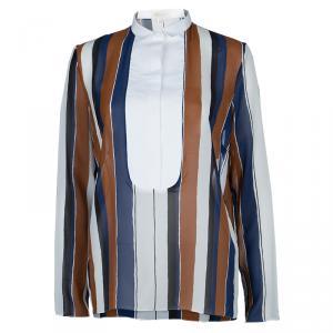 Giambattista Valli Multicolor Striped Contrast Bib Silk Blouse XS/S