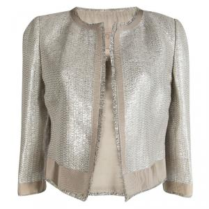 Giambattista Valli Silver Lurex Knit Boucle Jacket M