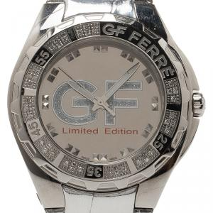 Gianfranco Ferre Mirror Stainless Steel 9040J Limited Edition Diamond Unisex Wristwatch 44MM