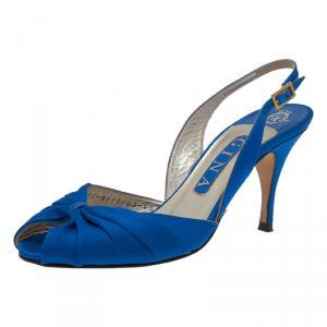 Gina Blue Satin Slingback Sandals Size 37.5