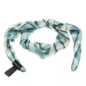 Giorgio Armani Blue Digital Printed Silk Square Scarf