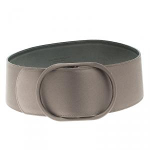Giorgio Armani Metallic Grey Satin Waist Belt 105 CM