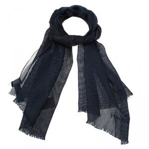 Giorgio Armani Navy Blue Striped Stole