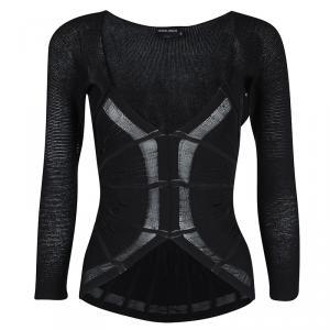 Giorgio Armani Black Knit Backless Long Sleeve Stretch Top S