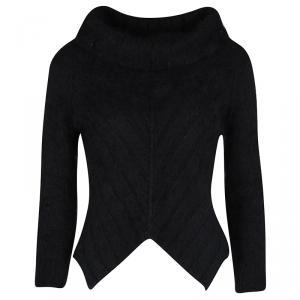 Giorgio Armani Black Angora Hair Turtle Neck Cropped Fuzzy Sweater S