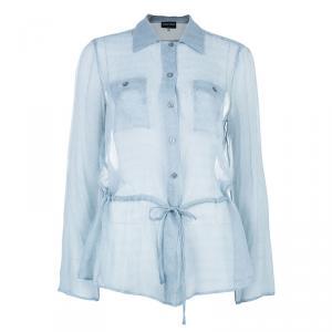 Giorgio Armani Button Down Drawstring Shirt L